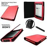 Etui Sony avec support pour Sony PRS-T2: parfait sacoche de transport avec Espace pour la broche & Support - housse en cuir (synthétique) de eBook PRS T2 - rouge