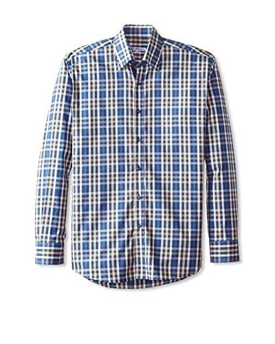 Café Bleu Men's Check Plaid Flannel Sportshirt