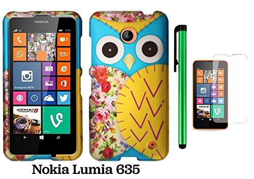 Nokia Lumia 635 Premium Pretty Design Protector Hard Cover Case (Us Carrier: T-Mobile, Metropcs, And At&T) + Screen Protector Film + 1 Of New Assorted Color Metal Stylus Touch Screen Pen (Blue Floral Owl)