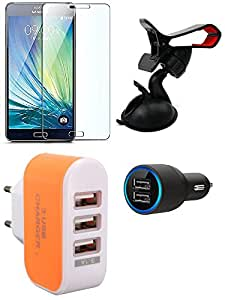 NIROSHA Tempered Glass Screen Guard Car Charger Mobile Holder Charger for Samsung Galaxy ON5 - Combo