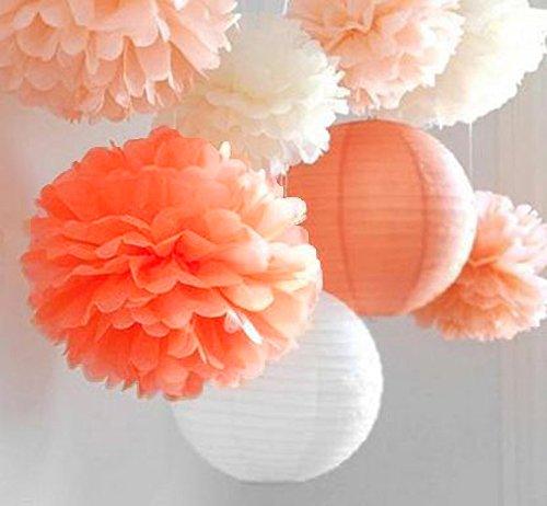 SUNBEAUTY 「8個セット」暖かいオレンジ系 すぐ使える ポンポン ペーパーフラワー 紙提灯 クリスマス 誕生日会 ウェディング イベント パーティー インテリア 装飾 (KT-2)