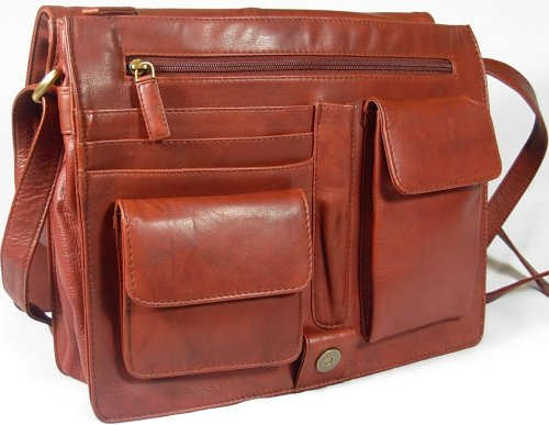 New ladies Visconti brown soft leather messenger organiser bag 753