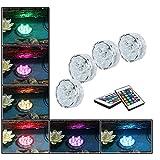 Luces decorativas LED con control remoto Hallomall™Multicolor, sumergibles, de iluminación subacuática, fuente de iluminación,  paquete de 4.