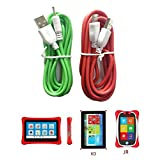 Bao Sheng@ [Pack of 2] 6.4 Feet (2m) USB Cable Combination for NABI 2 II/ NABI2-NV7A/ NABI2-NVA/NABI Jr/NABI 2S/NABI Dream Tab/NABI XD/Meep Kurio (NABI-RDGR) (Color: red)