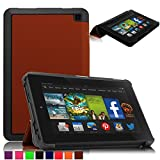 Britainbroadway 2014 Fire HD 6 Case Cover - Tri-Fold Ultra Slim Stand Case Cover With Smart Cover Auto Wake/Sleep Case For Amazon New Kindle Fire HD 6.0 Inch 4th Generation Tablet (Fire HD 6, Brown)