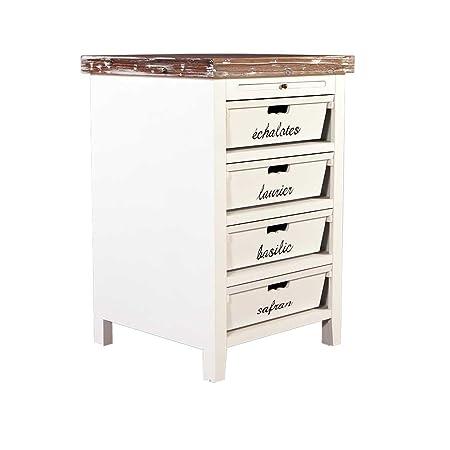 Landhausmöbel - Kuchenregal - Landhaus Regal - Dijon - Holz 4 Schubladen beschriftet Vintage Look creme weiß