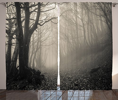 Ambesonne Gothic Decor Collection, Path on the Gothic Forest Trees Foggy Mysterious Nature Monochrome Art, Living Room Bedroom Curtain 2 Panels Set, 108 X 90 Inches, Cloudy (Window Covering Ideas)