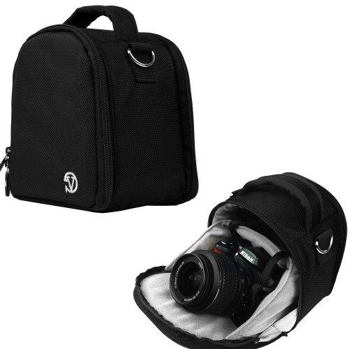 VanGoddy Laurel Custodia Borsa in Poliestere con Tracolla per Fotocamera Borsa Messenger per SLR DSLR Reflex Bridge Fotocamere (Nero)