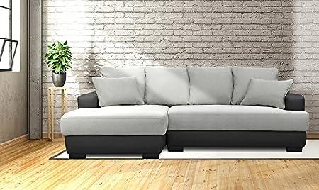 n.b.f Ecksofa Recht/Links Sofa Bett Convertible mit Premiumqualität aus Stoff Multifunktions 233x 147x 83cm Droit - Noir gris