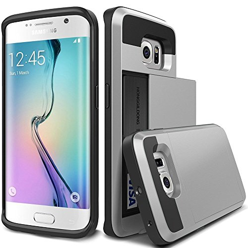OnPrim Luxury Dual Layer PC TPU And Silicone Rubber Hybrid Card Carry Pocket Wallet Slot Protective Cell Phone Case For Samsung Galaxy S7 5.1 Inth Silver