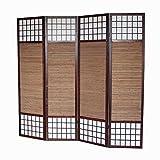 Homestyle4u 4 fach Paravent Raumteiler - Holz Trennwand Shoji mit