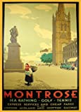 SCOTLAND Vintage Travel MONTROSE for Sea Bathing, Golf and Tennis 250gsm ART CARD Gloss A3 Reproduction Poster