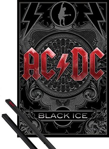 Poster + Sospensione : AC/DC Poster Stampa (91x61 cm) Black Ice e Coppia di barre porta poster nere 1art1®
