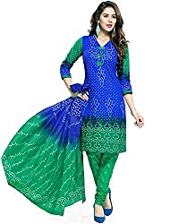 ZFashion Women's Blue & Green Color Printed Unstitched Cotton Dress Material