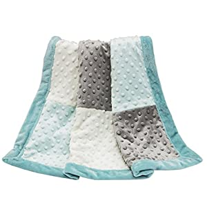 Gray and Aqua Minky Dot Baby Blanket by The Peanut Shell