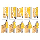 Yonico 16501 5 Bit Casing and Base Molding Router Bit Set 1/2-Inch Shank