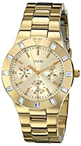 GUESS Women's U11058L1 Feminine Hi-Shine Mid-Size Gold-Tone Sport Watch