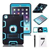 iPad Mini Case, iPad Mini1/ 2/ 3 Case,MAKEIT 3in 1 Heavy Duty Protection Kickstand Combo Hybrid Impact Silicone Hard Case Cover for Apple Ipad Mini 1/ 2/ 3 (black/Blue)