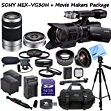 Sony NEX-VG30 Interchangeable Lens HD Handycam Camcorder With 18-200mm, 16mm f/2.8 & 55-210mm Lenses + CS Movie Makers Package: Includes Full Size Aluminum Tripod With Case, Boom Microphone, 64GB SDXC Memory Card, SD Card Reader, 2 Sony FV100 Replacement Batteries, Rapid Travel Charger, LED Video Light, High Definition Wide Angle Lens, Telephoto HD Lens, 3 Piece Professional Filter Kit, 4 Piece Macro Close-up Set, Lens Pen, Weather Resistant Carrying Case & CS Microfiber Cleaning Cloth