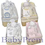 Bee Bo Baby Gift Set with Bodysuit, Bib, Socks and Teddy Bear in a Rattan Basket. 0 - 3 Months. Available in Blue, Pink, Cream, Lemon or White.