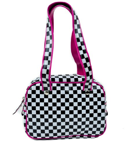 Black & White Checkered Handbag with Pink Trim Purse