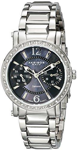 Akribos Women's XXIV Lady Diamond Collection Diamond Swiss Day and Date Watch - AK472SS