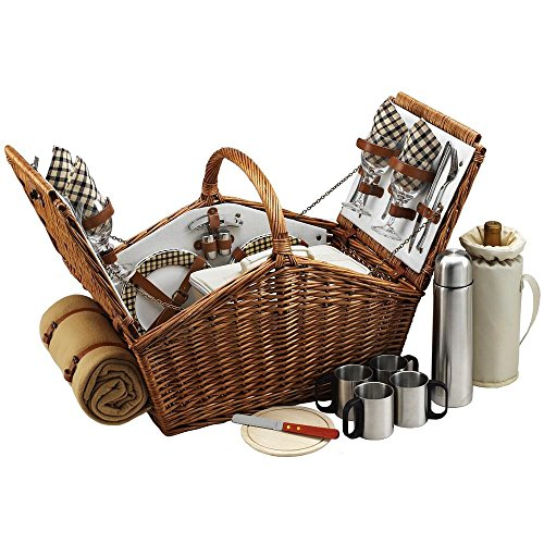 Picnic At Ascot Huntsman London Wicker Basket For 4 With Blanket And Coffee Set