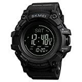 SKMEI 1358 Waterproof Digital Smart Outdoor Sports Watch Black with Pedometer Activity, Calories Burn, Distance Tracker, weather, Air Pressure, Thermometer, Altimeter, and Direction Compass (Color: Black)
