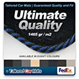 Ultimate Grade (1465 gr/m2) Midnight Blue Car Mats with Black & Blue Striped cloth edge for BMW 3 Series Cabriolet (2000 - 2007) - In a choice of 8 colours
