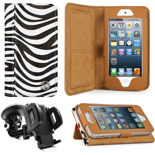 Best Price Black & White Zebra Print Design VG Faux Leather Standalone Case for Apple iPhone 5 & Apple iPod Touch 5 (Compatible with All Models) + Mirror Screen Protector+ Universal Windshield Vehicle Mount