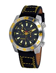Android Octoploid AD675BY 48MM Multifunction Swiss Quartz Analog Black Dial Men's Black Leather Watch