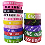 16pcs 1D Bracelet Lot POP Band Silicon Wristband with Limited Special 1D Gift Box