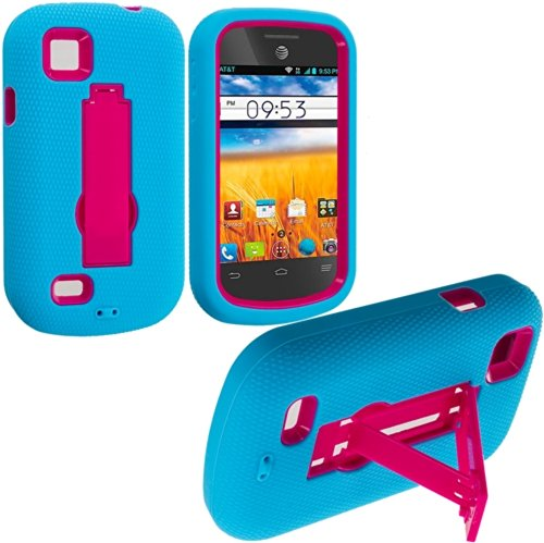 Cell Accessories For Less (Tm) Baby Blue / Hot Pink Hybrid Heavy Duty Hard/Soft Case Cover With Stand For Zte Avail 2 Z992 - By Thetargetbuys front-987339