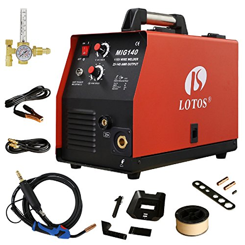 Lotos-MIG140-140-Amp-MIG-Wire-Welder-Flux-Core-Welder-and-Aluminum-Gas-Shielded-Welding-with-2T4T-Switch-110V-Red