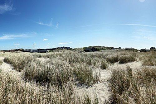 Premium XXL Vliestapete Dünen mit Gras und kleiner Ortschaft - Größe: 400 x 267 cm
