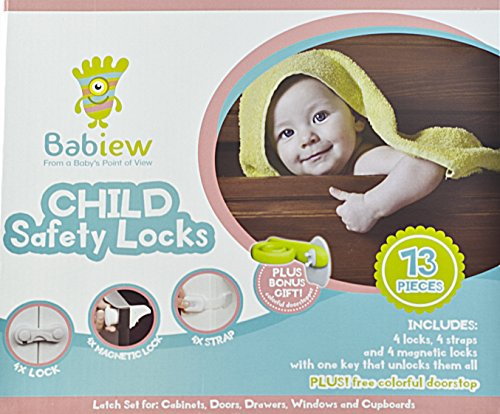 Babiew Child Safety Locks Kit - Baby Proofing Multifunctional Latches for Cabinets, Toilet, Drawers, Fridge, Cupboard, and Trash Can - Magnetic Key - No Drill or Screws (Refrigerator Key Lock compare prices)