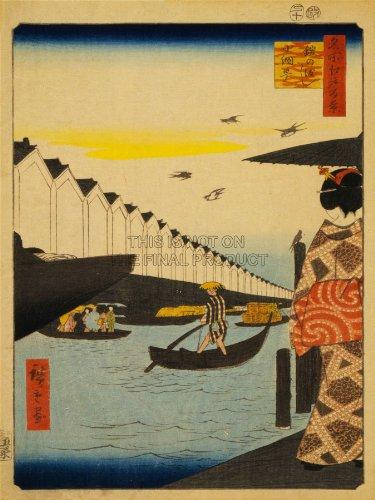 PAINTING LANDSCAPE YOROI FERRY KAOMI JAPAN BOAT SEA GEISHA ANDO PRINT CC1114