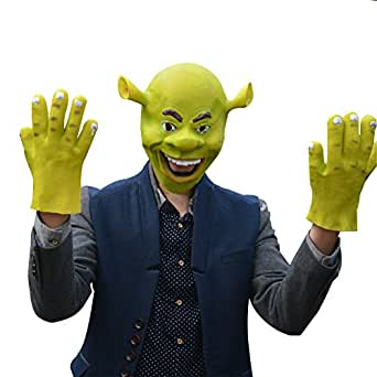 CHN'S Monster Shrek Overhead Latex Mask Fancy Costume Accessory with Gloves