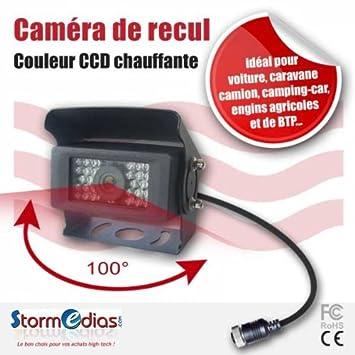 CAMÉRA DE RECUL DF8093 CCD 100° + CHAUFFAGE + VOLET