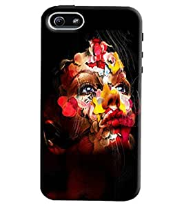 Omnam Girl With Flower Painted On Face Printed Back Cover Case For Apple iPhone 5/5S