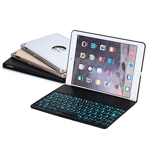 F8S+ iPad Air2 キーボード ケース バックライト Bluetooth 3.0 薄型 アルミ 加工 ◇F8S+ (ブラック)