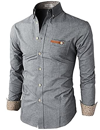 h2h mens casual slim fit oxford button shirts with