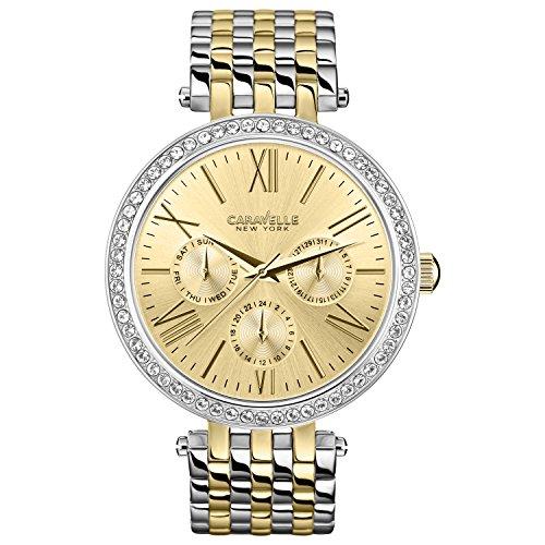 Caravelle New York 45N100 - Reloj Analógico de Cuarzo para Mujer, correa de Acero inoxidable color Bicolor