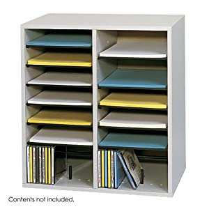 Safco Products Wood Adjustable Literature Organizer, 16 Compartment, Gray, 9422GR