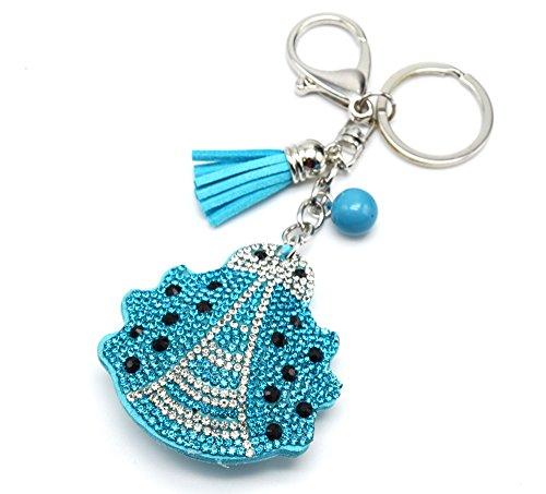 PT980E-Porta-chiavi, gioiello da borsetta, motivo a coccinella, con brillantini, in feltro, misura XXL, colore: blu/argentato-Mode fantasia