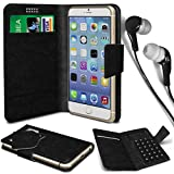 N4U Online® - Nokia Asha 500 PU Leather Suction Pad Wallet Case Cover & 3.5mm Earbud Stereo Earphone - Black