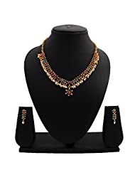 Nisa Pearls Elegant Gold Plated Necklace Set Embellished With CZ, Colored Stones And Pearls