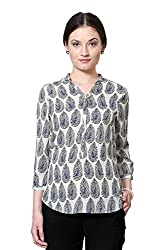 Van Heusen Womens Body Blouse Shirt (VWTS515D012193/4 Sleeve_White With Black_S)
