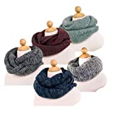 Two-Tone Winter Knit Warm Infinity Circle Scarf - Different Colors Available
