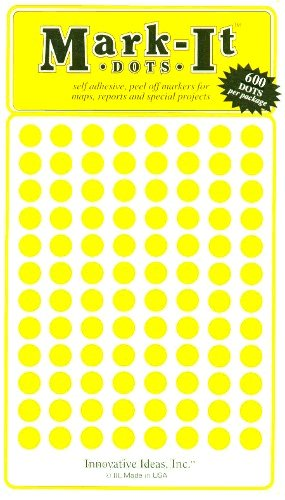 "Map Dot Stickers - 1/4"" Diameter - Yellow"